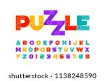 puzzle font  colorful jigsaw... | Shutterstock .eps vector #1138248590