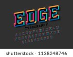 stylised colorful 3d font edge  ... | Shutterstock .eps vector #1138248746