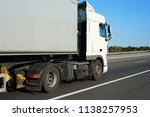 truck with container on the... | Shutterstock . vector #1138257953