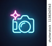 photo camera neon icon isolated ...