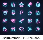 set of 20 neon icons for music  ...