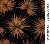 palm monstera seamless pattern. ... | Shutterstock .eps vector #1138280456