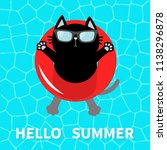 hello summer. swimming pool... | Shutterstock .eps vector #1138296878