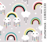 seamless childish pattern with... | Shutterstock .eps vector #1138321133
