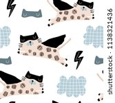 seamless childish pattern with... | Shutterstock .eps vector #1138321436