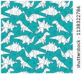 origami dinosaurs seamless...   Shutterstock .eps vector #1138322786