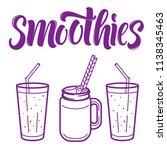 smoothies menu line art... | Shutterstock .eps vector #1138345463