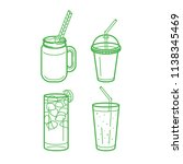 soft drinks glasses and jars... | Shutterstock .eps vector #1138345469