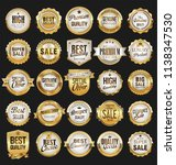 super sale retro golden badges... | Shutterstock .eps vector #1138347530