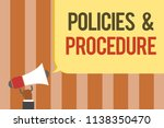 writing note showing policies... | Shutterstock . vector #1138350470