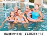 happy seniors group is doing... | Shutterstock . vector #1138356443