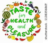a set of fruits and a lettering ... | Shutterstock .eps vector #1138356869