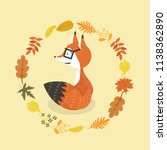 cute fox in glasses with leaves ... | Shutterstock .eps vector #1138362890