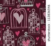 vector pattern with birdcage... | Shutterstock .eps vector #113836546