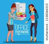 business woman doing paperwork... | Shutterstock .eps vector #1138366313