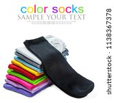 socks of different color are... | Shutterstock . vector #1138367378