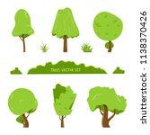 set of various shape trees... | Shutterstock .eps vector #1138370426