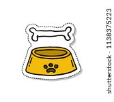 bowl for pets doodle sticker... | Shutterstock .eps vector #1138375223