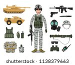 Army soldier character with military vehicle, weapons, military gear and equipment - stock vector