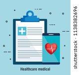smartphone with telemedicine... | Shutterstock .eps vector #1138382696