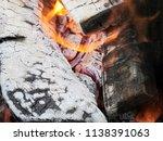 burning firewood in a brazier | Shutterstock . vector #1138391063