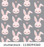 cute bunny pattern. rabbit head ... | Shutterstock .eps vector #1138394360