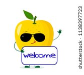 cute yellow apple character in... | Shutterstock .eps vector #1138397723