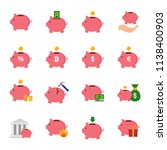 piggy bank set of vector icons | Shutterstock .eps vector #1138400903