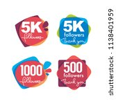1000 followers and members  ... | Shutterstock .eps vector #1138401959