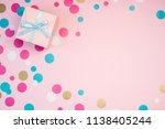 decorated boxes and confetti on ... | Shutterstock . vector #1138405244