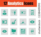 analytics icon set. green on... | Shutterstock .eps vector #1138409090