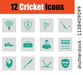 cricket icon set. green on gray ... | Shutterstock .eps vector #1138409099