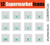 supermarket icon set. green on... | Shutterstock .eps vector #1138409126