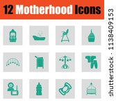 motherhood icon set. green on... | Shutterstock .eps vector #1138409153