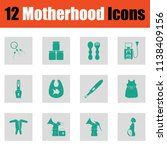 motherhood icon set. green on... | Shutterstock .eps vector #1138409156