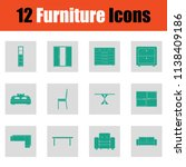 home furniture icon set. green... | Shutterstock .eps vector #1138409186