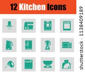 kitchen icon set. green on gray ... | Shutterstock .eps vector #1138409189