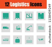 logistics icon set. green on... | Shutterstock .eps vector #1138409249