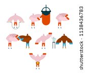 boxer set. training and... | Shutterstock . vector #1138436783