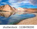 scenic high altitude pangong... | Shutterstock . vector #1138458200