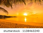 at sunset time on the tropical... | Shutterstock . vector #1138463240