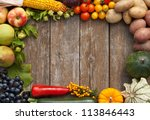 frame of vegetables and fruits... | Shutterstock . vector #113846443