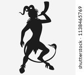 Vector satyr blowing a horn silhouette isolated on white background, the faun from Greek mythology.