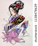 geisha marker style with... | Shutterstock . vector #1138478639