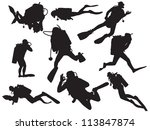 vector scuba diving silhouette | Shutterstock .eps vector #113847874