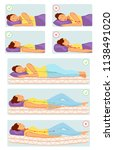 correct and incorrect sleeping... | Shutterstock .eps vector #1138491020