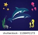 sea vector set. dolphin ...   Shutterstock .eps vector #1138491173