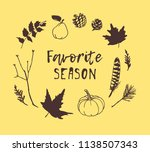 hand drawn autumn illustration... | Shutterstock .eps vector #1138507343