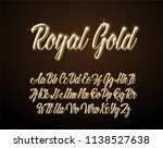royal gold lettering alphabet.... | Shutterstock .eps vector #1138527638