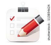 checklist and pencil icon | Shutterstock .eps vector #113854624